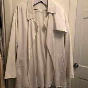 All Saints belted white draped jacket